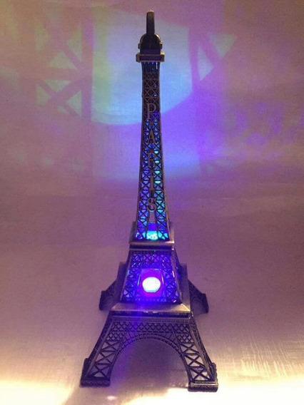 Torre Eiffel De Metal Con Luz Led 2 Piezas
