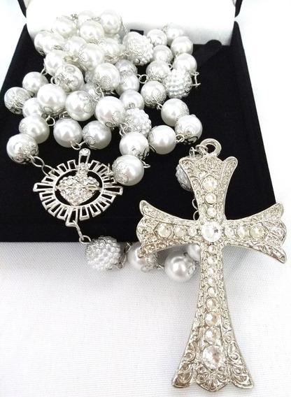 Terço De Noiva Prata Perolas Brancas Sagrado De Jesus
