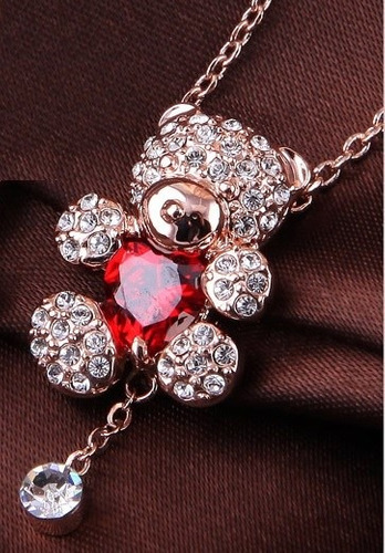 Hermoso Regalo Collar Corazon Oso Swarovski Crystals Stock