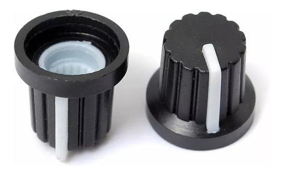 10 Unidades Perilla Pote Eje Estriado 16 Mm Plastico Negro