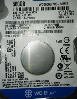 Placa Logica Wd 500 Gb 500lpvx-08v0t 2,5 Pulgadas