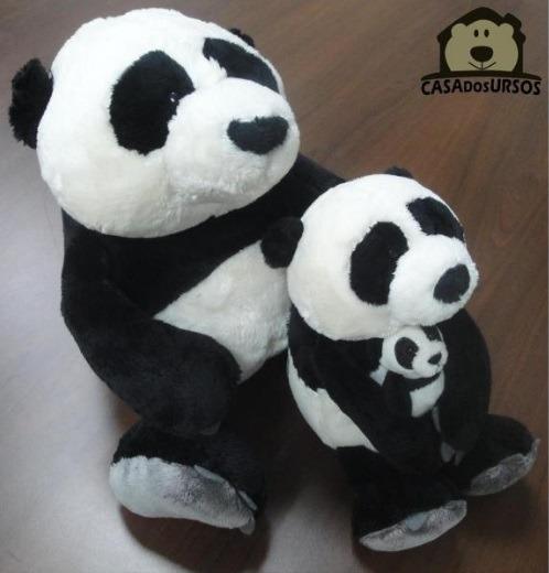 Familía De Pelúcia Panda Papai 35cm + Mamãe 25cm + Filho 8cm