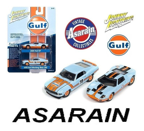 Ford Gt 40 & Mustang Boss 302 Gulf Johnny Lightning 1/64