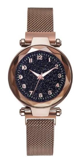 Relógio Feminino Barato Elegante Céu Estrelado Marrom
