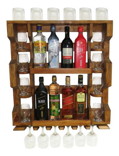 Imagem 1 de 9 de Bar Adega Parede Madeira Rústica Garrafas Porta Taças Copos