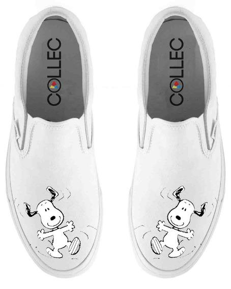 Zapatos Dama Slip On Snoopy Baile Pintados A Mano