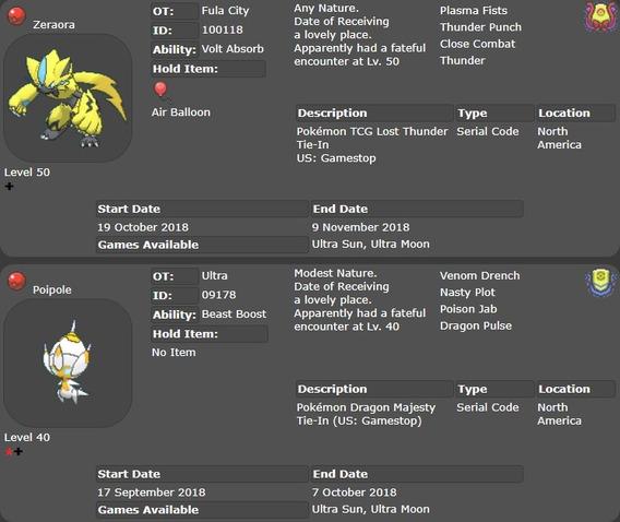 2 Pokemon Evento Zeraora E Shiny Poipole Ultra Moon Sun