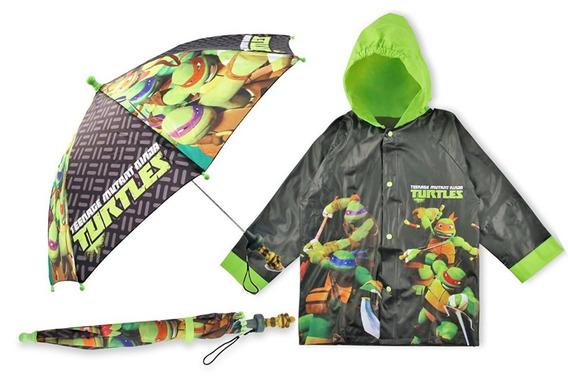Impermeable Y Paraguas Para Niño Tortugas Ninja Nickelodeon