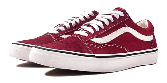 Tenis Old Skool Vermelho Faixa Branca Skate Clássico Oferta.