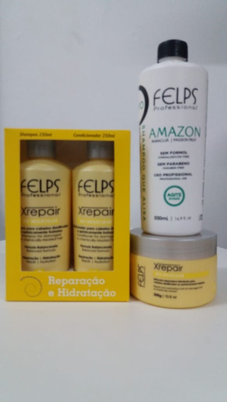 Felps Kit Xrepair Biomolecular 3 Produtos + Shampoo Amazon