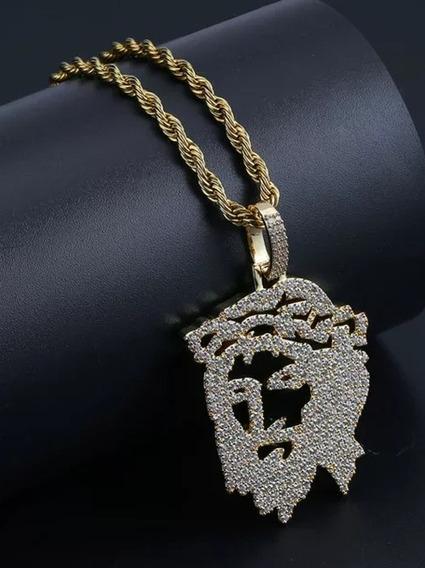 Colar Rosto Jesus Cor Ouro Pedras Zirconias Hip Hop