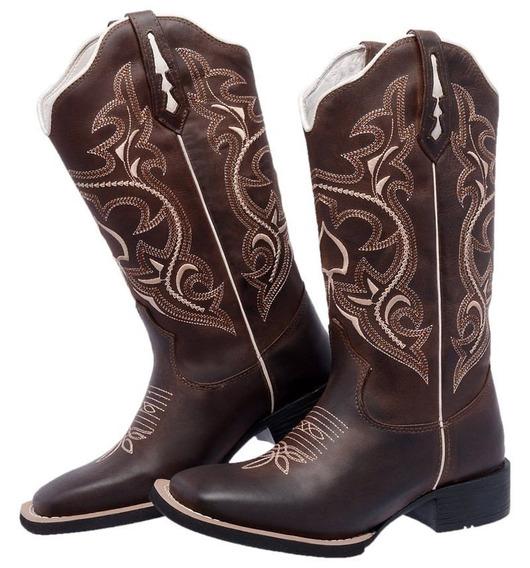 Bota Texana Country Bordada Cano Alto +frete Gratis