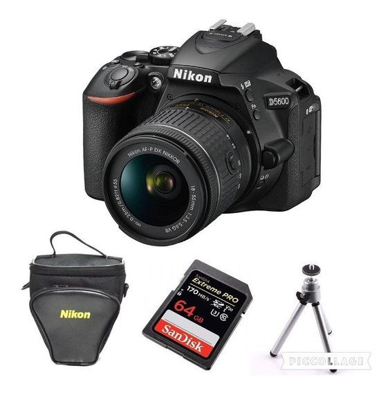 Câmera Nikon D5600 C/18-55mm + 64gb Extreme + Tripé + Bolsa