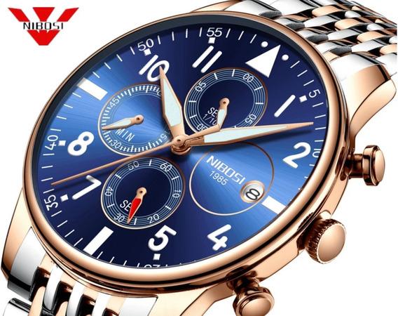 Relógio Dourado Original Nibosi 2368 Super Luxuoso Barato