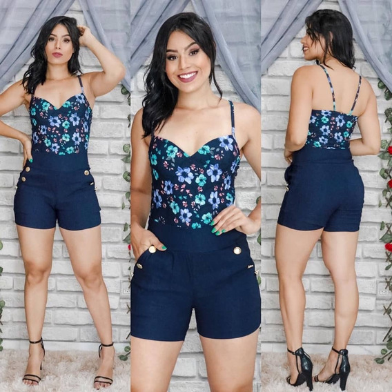 Kit C/4 Shorts Feminino Curto Cintura Alta Em Bengaline