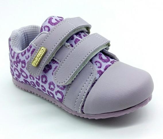 Tênis Infantil Menina Com Velcro Lilás