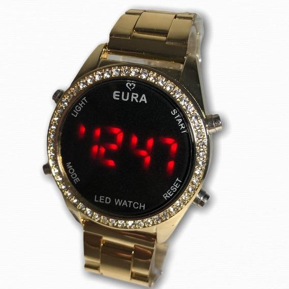 Relógio Eura Metal Feminino Digital Led Promoção Presente