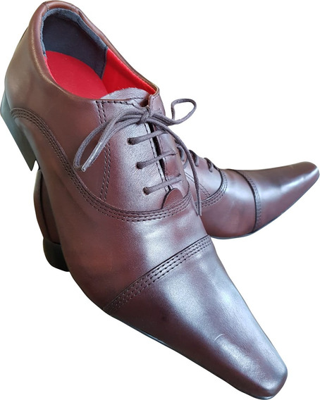 Sapato Masculino Em Couro Marrom Cromo Rustico Ref: 603