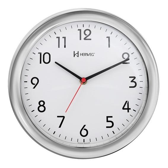 Relógio De Parede 28 Cm Cromado Herweg 6635-028