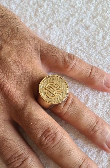 Anel Crf Banhado A Ouro 18k Com 12 Banhos De Imersão Em Ouro