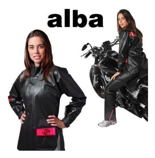 Conjunto Chuva Feminino Motoqueira Alba Modelo Europa Preto
