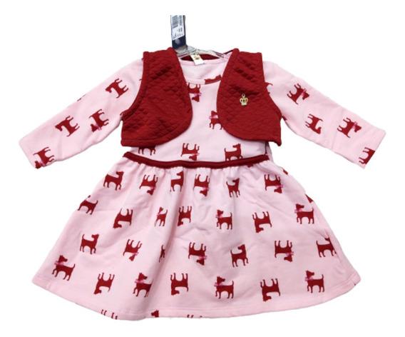Vestido Frio Bebê Menina Manga Longa Inverno Moda Tam G