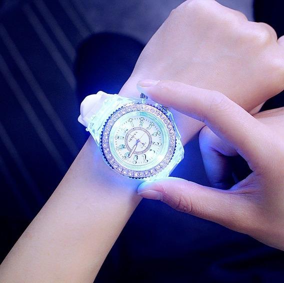 Relógio Pulso Led Colorido Pulseira Silicone Branco Promoção