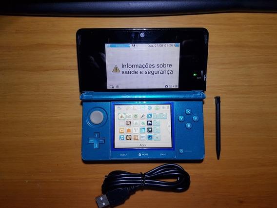 3ds Azul Desbloqueado + Cartão 32gb Leia Obs N12