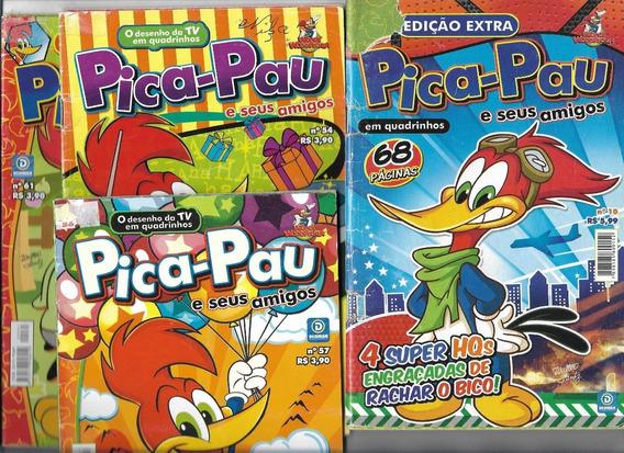 04 Gibis Pica Pau E Amigos Nº10-54-57-61(2013)super Promoção