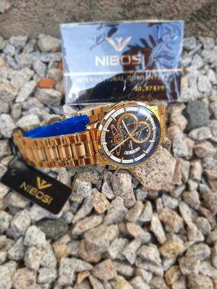 Relógio Nibosi Modelo 1985Dourado Com Fundo Preto