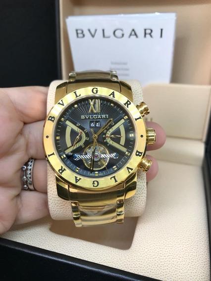 Relógio Masculino Bv X-man Automatico Dourado Gold Em Aço