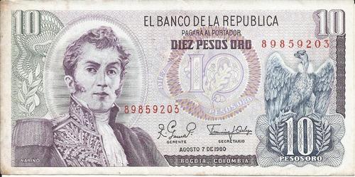 Colombia 10 Pesos Oro 7 Agosto 1980