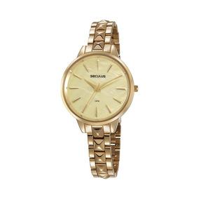 Seculus Relógio Glamour Evisor Madrepérola Em Aço Dourado