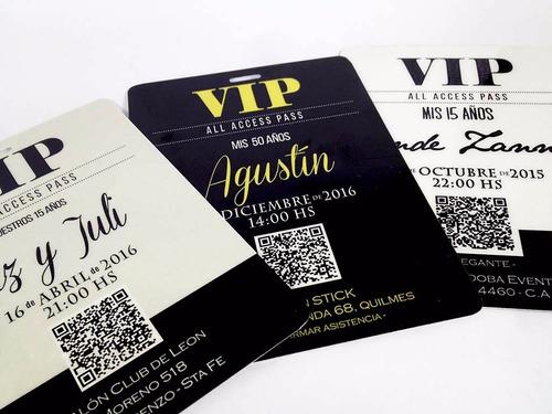 Credencial Vip 15 Años Invitaciones Tarjetas X10
