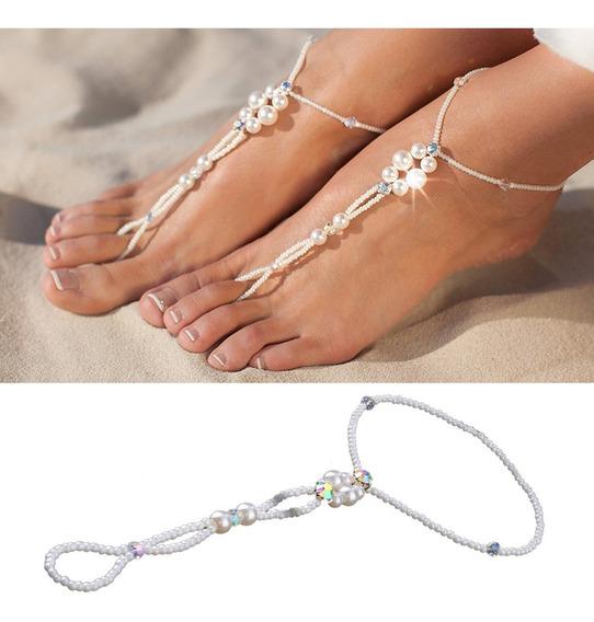 Sandália Barefoot Sandals Tornozeleira Perolas Fetiche Pés