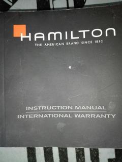 Reloj Hamilton Manual De Instruccion Y Garantia