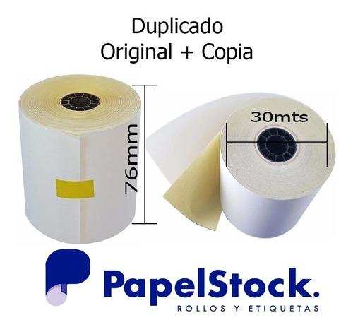 120 Rollos De Papel Quimico Duplicados 76x30 Copia Amarilla