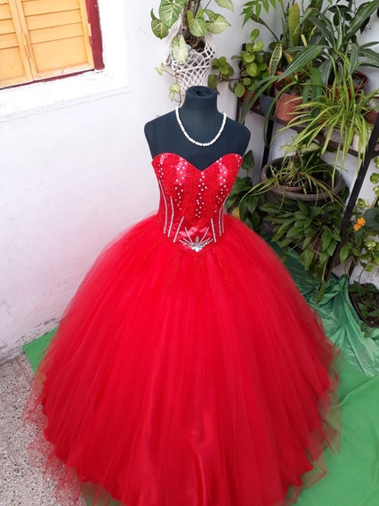 Vestido De 15RojoRaso Tul Y Encaje Bordado