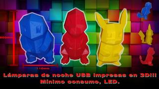 Lámparas De Noche 3d Usb Pokemon Led Bajo Consumo