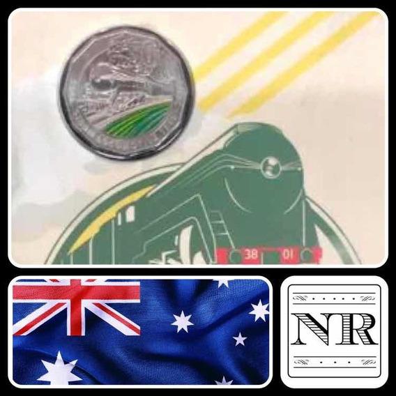 Australia - 50 Pence - Año 2018 - Tren A Vapor - Esmaltada