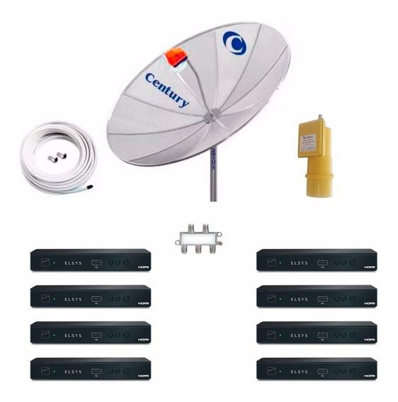 Antena Parabolica 190 Cm C/ 8 Receptor Analógico Digital Hd