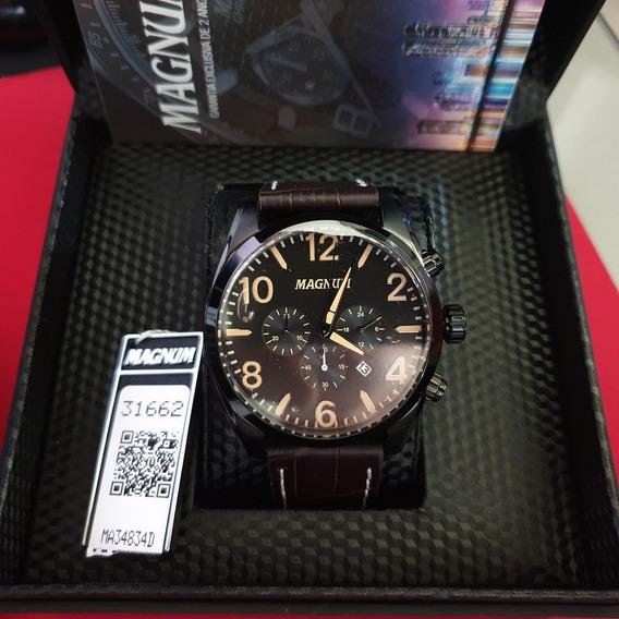 Relógio Masculino Analógico Magnum Ma34834d Cronógrafo Baixou Preço 2 Anos De Garantia Entrega Imediata Nf
