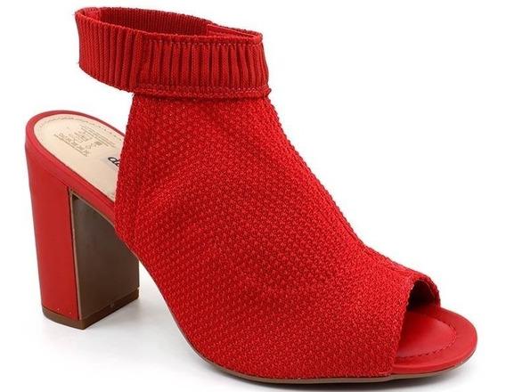 Sandália Salto Alto Dakota Z3662 Malha Vermelho Loja Pixolé