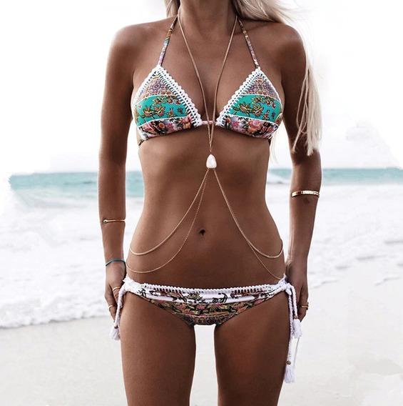 Colar Feminino Para O Corpo Abdomem Body Chain Turquesa Bh 1