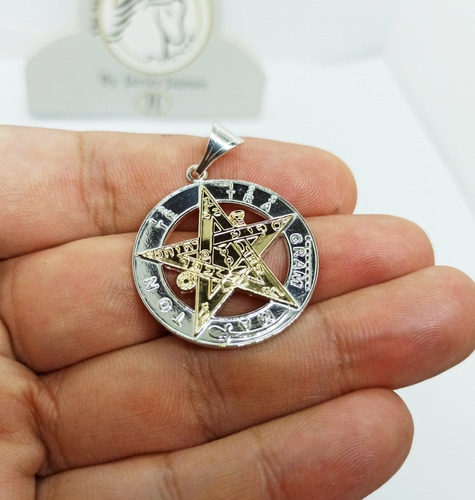 Pentagrama Tetragramaton Grande 3cm Diametro Plata 925 Y Oro