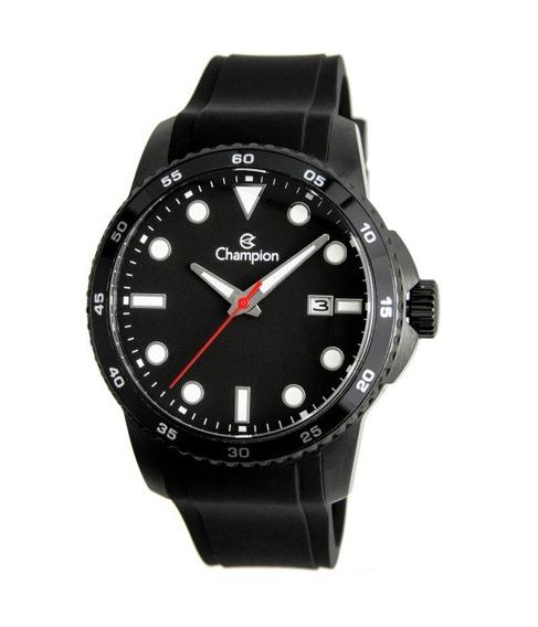 Relógio Masculino Preto Pulseira Borracha Champion Ca31686p