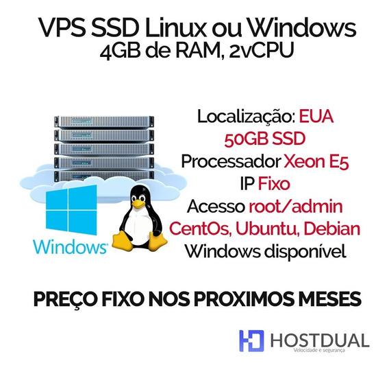 Servidor Vps Xeon E5 2cpu 4gb Ram 50gb Ssd Ou 300 Hdd Windows Ou Linux Eua Ssh Computador Remoto Ip Fixo Ligado
