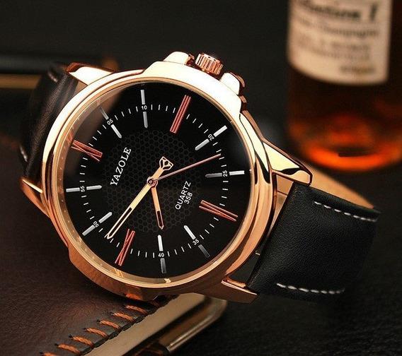Relógio Yazole Preto Dourado Importado