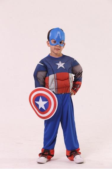 Disfraz Capitan America Con Musculos Talle 1-2-3-4