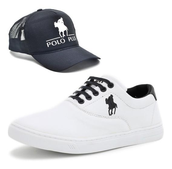 Tenis Sapatenis Slip On Polo Plus Masculino Original + Boné